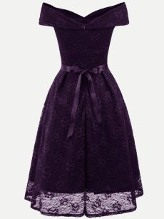 Vinfemass Boat Neck Sleeveless Bowknot Lace Party Skater Dress