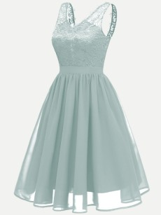 Vinfemass V-neck Backless Lace Chiffon Sleeveless Party Long Skater Dress
