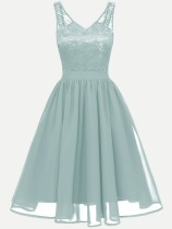 V-neck Backless Lace Chiffon Sleeveless Party Long Skater Dress