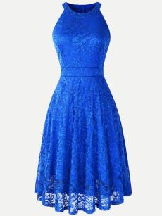 Vinfemass Halter Neck Solid Color Lace Party Dress
