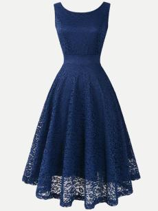 Vinfemass Back V Neck Solid Color Lace Sleeveless Party Cocktail Skater Dress