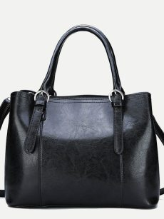 Vinfemass Solid Color PU Boston Tote Shoulder Bag