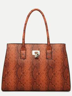 Vinfemass Snake Pattern Retro Tote Shoulder Bag