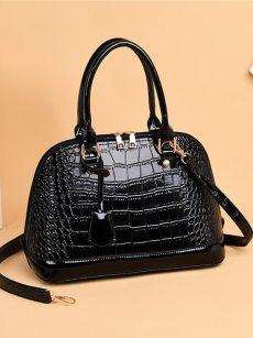 Vinfemass Solid Crocodile Pattern Shell Shape Shoulder Bag