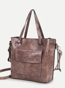 Vinfemass Solid Color Front Pocket Waxy Leather Large Shoulder Bag