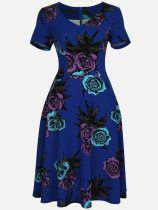 Vinfemass Retro V Neck Floral Printing Plus Size Skater Dress