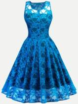 Vinfemass Double Layered Lace Sleeveless Plus Size Party Skater Dress