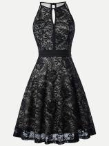 Halter Neck Strap Sleeveless Plus Size Lace Party Skater Dress
