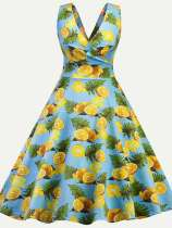 Vinfemass Retro V Neck Lemons Printing Sleeveless Plus Size Skater Dress