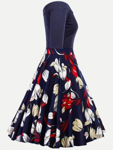 Vinfemass Retro Floral Printing Boat Neck Plus Size Skater Dress