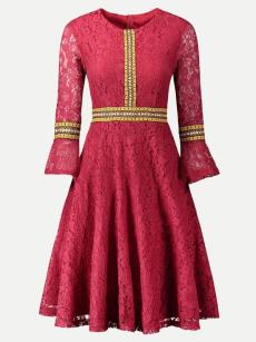 Red Long Sleeve Lace Overlay Dress