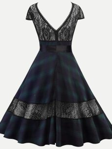 Vinfemass Retro Lace Patchwork Backless Grid Printing Plus Size Skater Dress