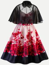 Vinfemass Retro Floral Printing Lapel Two Pieces Cape Plus Size Skater Dress