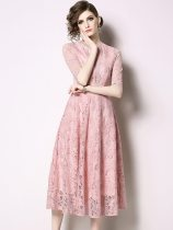 Solid Color Pink Lace Hollow Long Evening Dress