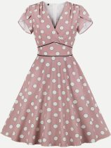 Vinfemass Retro V Neck Polka Dots Printing A Line Plus Size Skater Dress