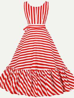 Womens 50s 60s Vintage Dress Rockabilly Red Striped Lacing Sleeveless Maxi Long Dress