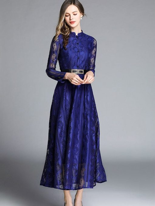 Vinfemass Retro Stand Collar Lace Hollow Belt Decor Long Evening Dress