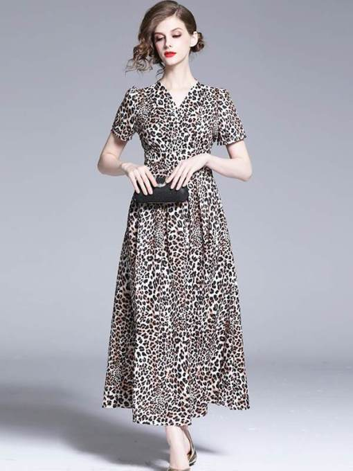 Retro V Neck Leopard Printing Slim Long Evening Dress