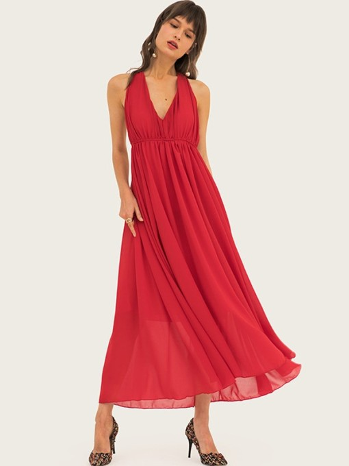 Vinfemass Solid Color Halter Neck Backless Long Evening Dress