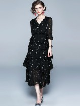 Vinfemass V Neck Stars Printing Chiffon Flare Sleeve Layered Long Evening Dress