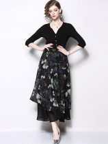 Vinfemass V Neck Chiffon Patchwork Floral Printing Long Evening Dress