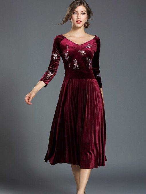 Vinfemass V Neck Solid Color Embroidery Flowers Velvet Long Evening Dress