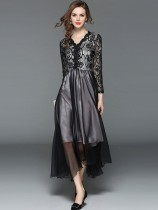 Vinfemass V Neck Lace Patchwork Long Slim Evening Dress