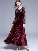 Vinfemass Retro Lace Velvet Patchwork Long Evening Dress