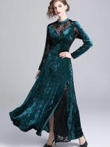 Vinfemass Retro Stand Collar Lace Velvet Patchwork Slim Slit Side Long Evening Dress