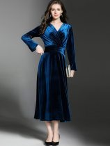 Vinfemass V Neck Solid Color Flare Sleeve Long Velvet Evening Dress