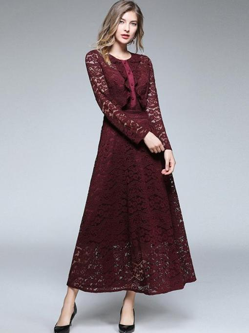 Vinfemass Retro Falbala Hem Lace Slim Long Evening Dress
