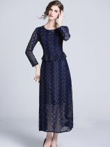 Vinfemass Solid Color Falbala Hem Lace Long Evening Dress