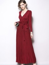 Vinfemass V Neck Solid Color Lacing Decor Long Cotton Evening Dress