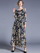 Vinfemass Floral Printing Belt Decor Long Evening Dress