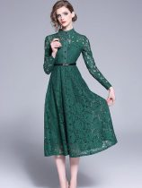 Stand Collar Solid Color Belt Decor Lace Long Evening Dress