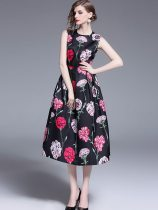 Black Floral Sleeveless Evening Dress