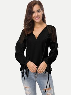 Womens Chiffon Blouse Summer Sexy Casual Solid Color V Neck Lace Patchwork Long Sleeve Ladies Shirt