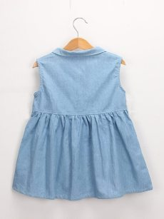 Toddler Girls Lapel Embroidery Letters Denim Blue Sleeveless Dress
