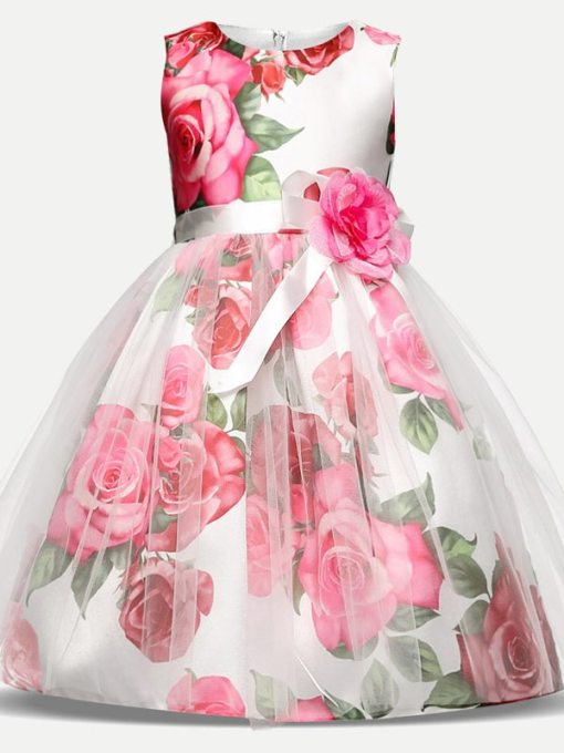 Toddler Girls Floral Print Flowers Tulle Sleeveless Gown Dress