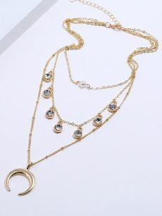 Circles Moon Layered Golden Pendant Necklace