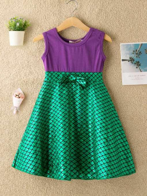 Toddler Girls Fish Scale Bow Front Dress