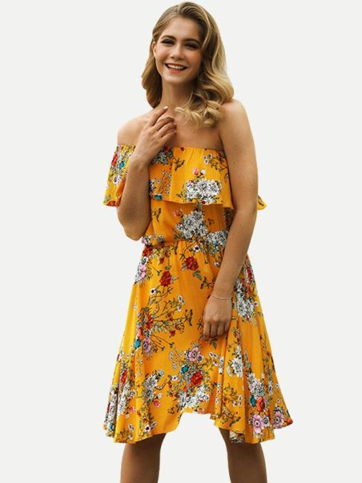 Womens Sexy Bohemian Beach Dress Bandeau Floral Print Short Dress