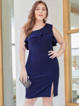 Plus Size One Shoulder Falbala Hem Bodycon Blue Party Dress