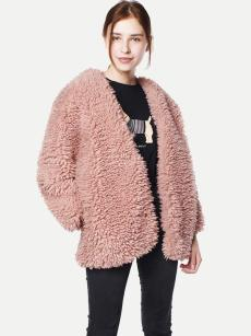 Vinfemass Thick Solid Faux Fox Fur Pink Coat