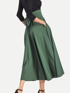 Solid Color Pleated Maxi Skirt