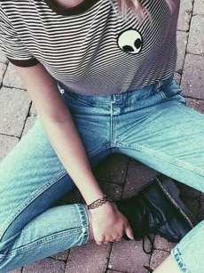 Womens T-shirts Black Fashion Summer Casual Short Sleeve Striped Cotton Short Tee T Shirts Tops