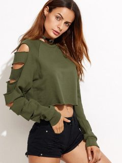 Womens T-shirts Army Green Fashion Summer Casual Long Sleeve Holes Solid Color Cotton Short Tee T Shirts Tops