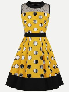 Womens 50s 60s Yellow Vintage Retro Rockabilly Dress Striped Polka Dots Print Sleeveless Swing A Line Dress