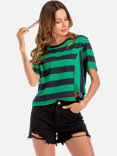 Womens T-shirts Fashion Summer Casual Short Sleeve Striped Loose Cotton Short Tee T Shirts Tops