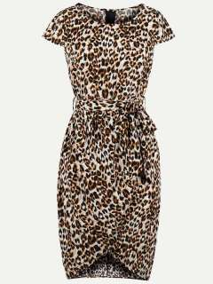 Womens 50s 60s Vintage Retro Rockabilly Dress Leopard Print Lacing Short Sleeve Bodycon Pencil Dress
